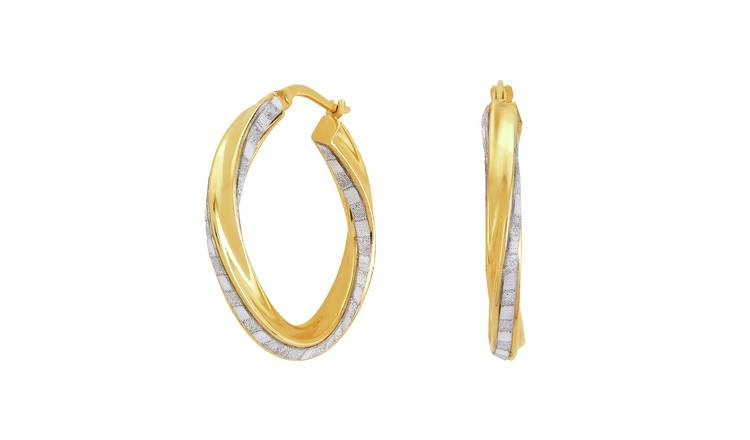 Revere 9ct Gold Plated Silver Glitter Twist Hoop Earrings