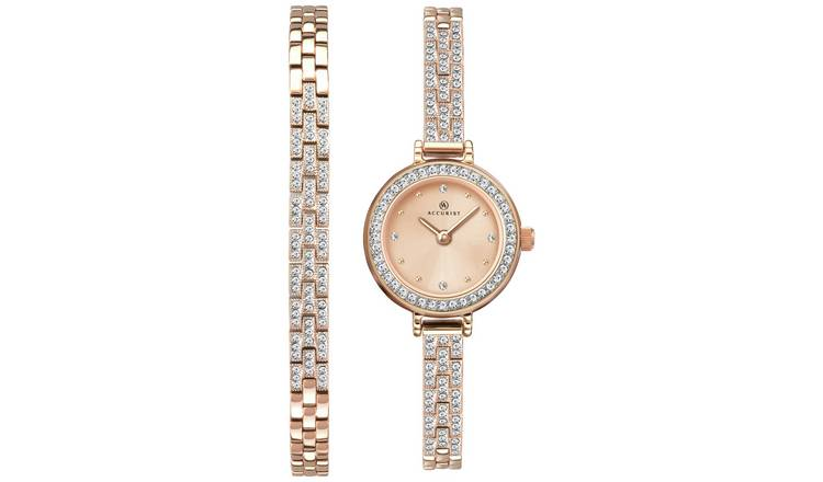 Accurist Ladies Rose Gold Plated Watch and Bracelet Gift Set
