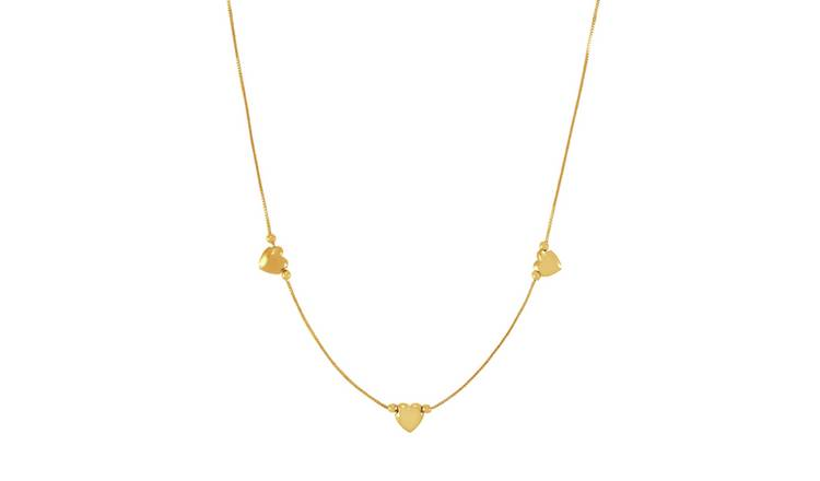 Buy Revere 9ct Yellow Gold 3 Hearts Necklace Womens Necklaces