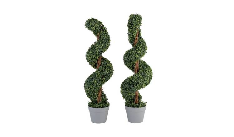 Gardenwize Faux Spiral Topiary Tree Pair