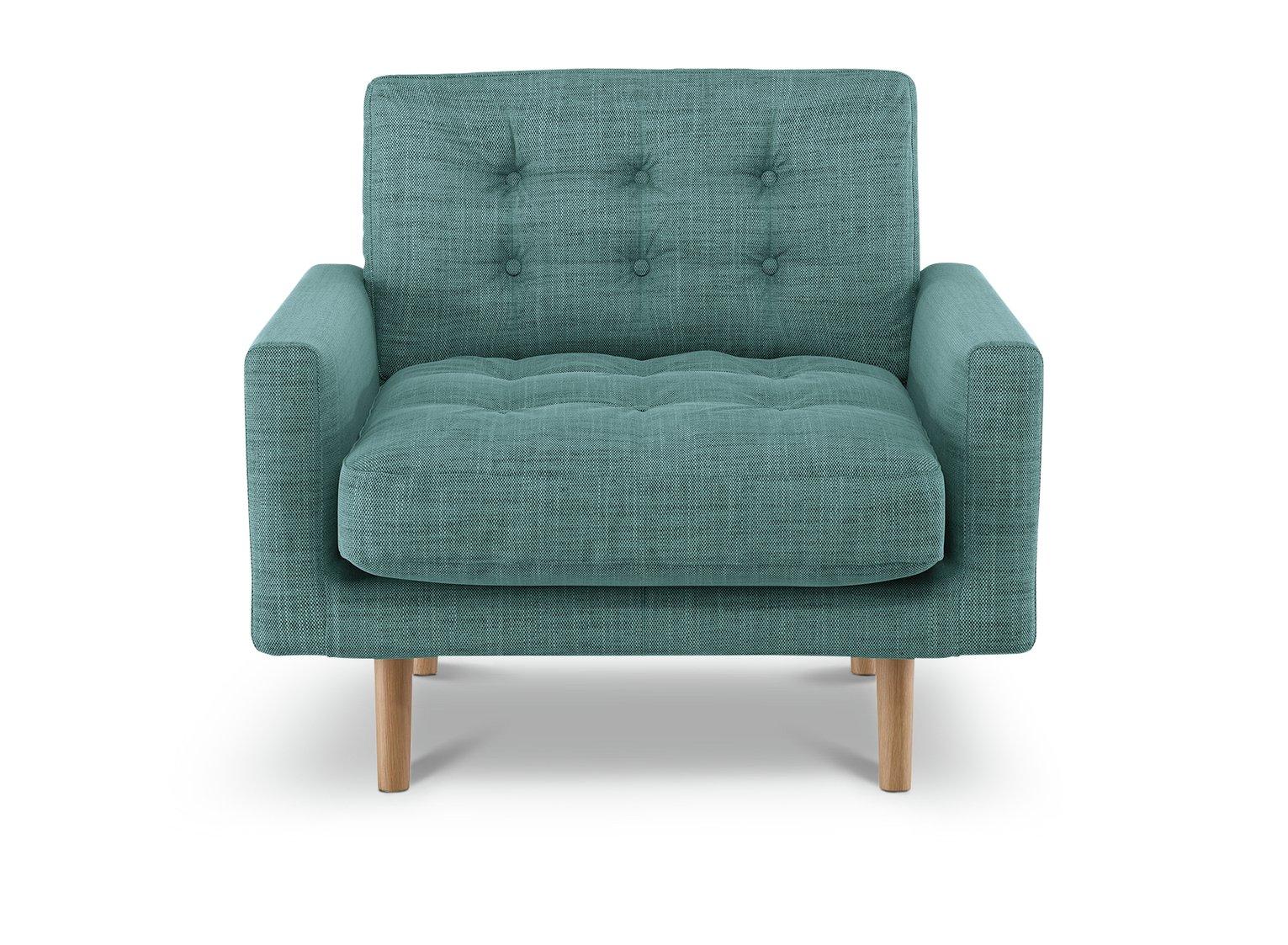 Habitat Fenner Teal Blue Fabric Armchair