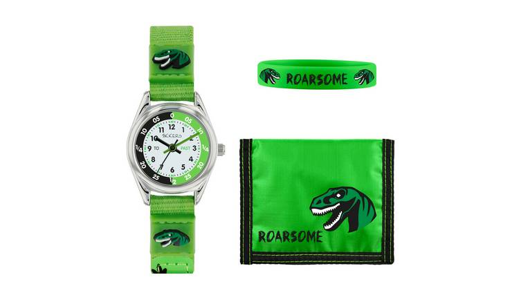 Tikkers Green Dinosaur Fabric Strap Watch