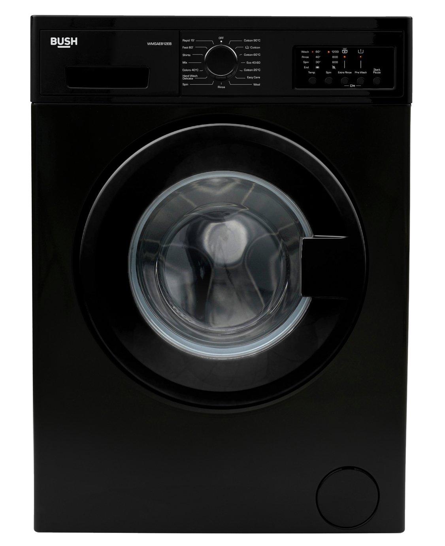 Bush WMSAE812EB 8KG 1200 Spin Washing Machine - Black