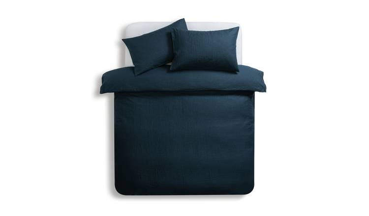 Habitat Linen Petrol Blue Bedding Set - Double