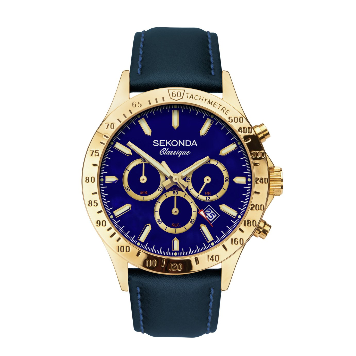 Sekonda Classique Men's Dual-Time Blue Leather Strap Watch