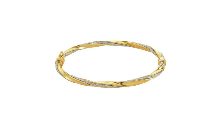 Revere 9ct Gold Plated Silver Glitter Twisted Bangle by Argos