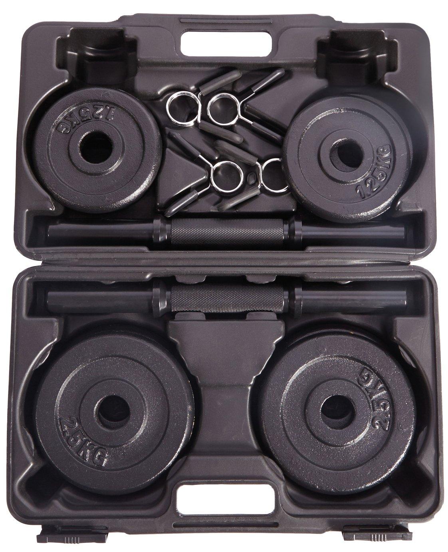 Pro Fitness 18kg Cast Iron Dumbbell Box Set