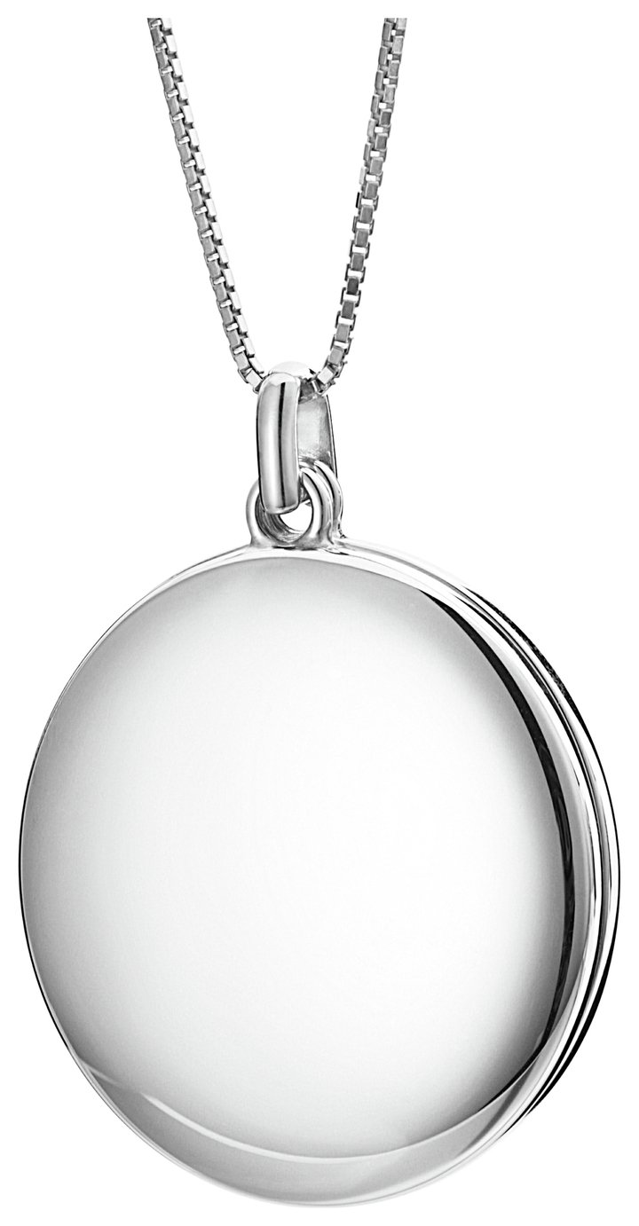 Inara Rhodium Plated Ceramic Locket 28 Inch Chain