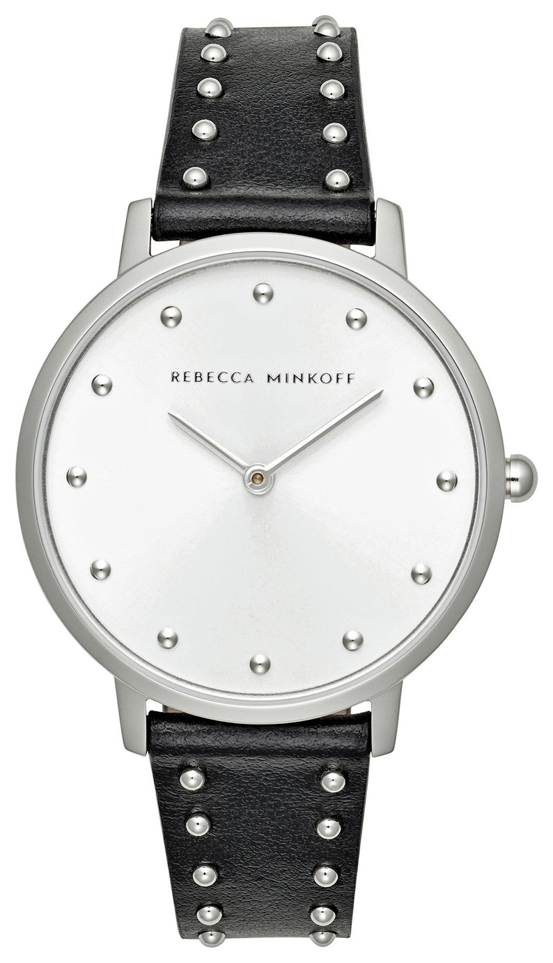 Rebecca Minkoff Ladies Black Leather Strap Watch