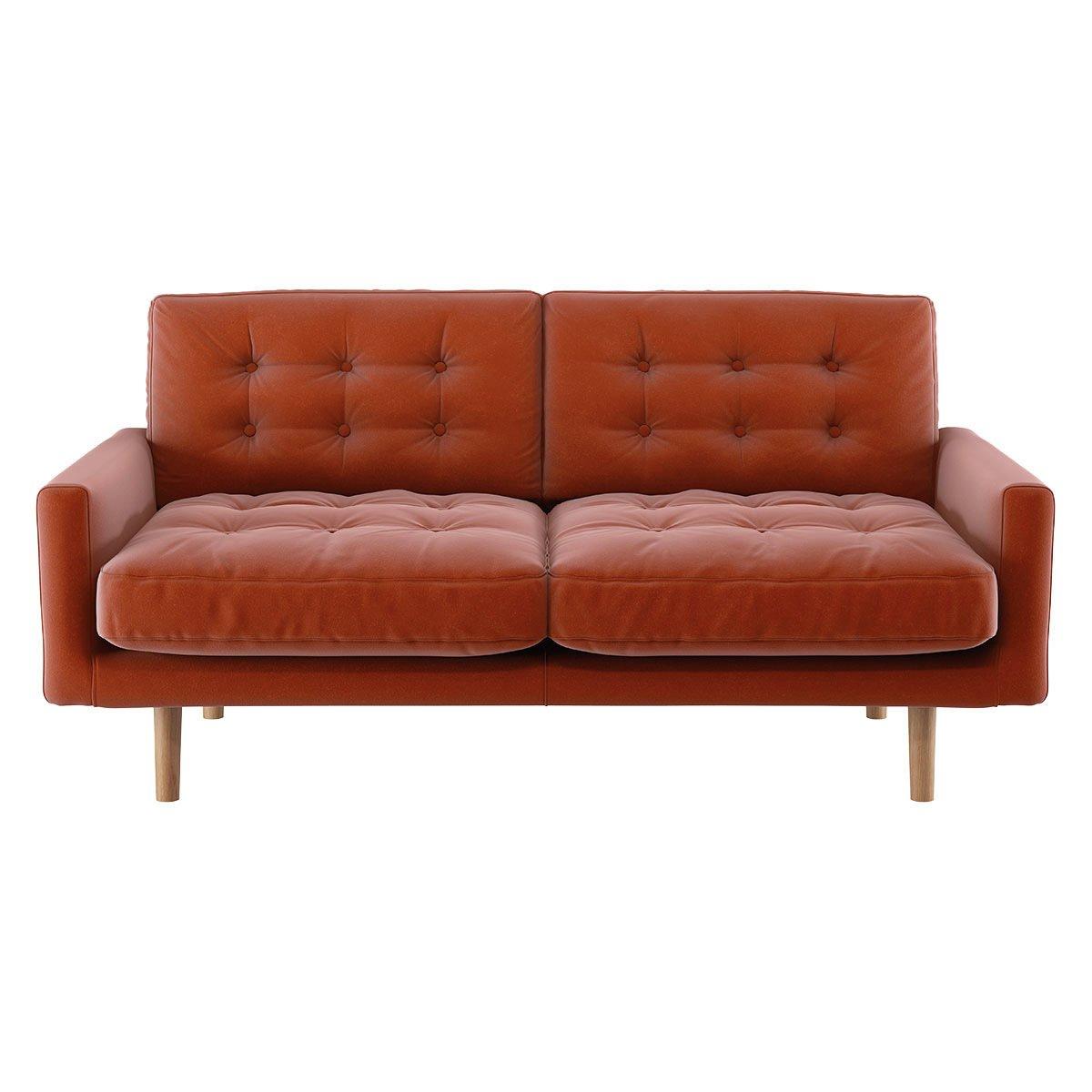 Habitat Fenner 2 Seater Velvet Sofa - Orange