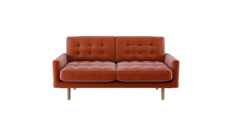 Habitat Fenner 2 Seater Velvet Sofa - Orange