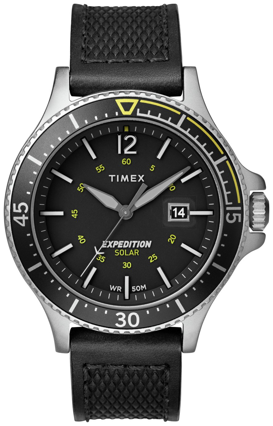 Timex Men's Solar Powered Black Leather Strap Watch
