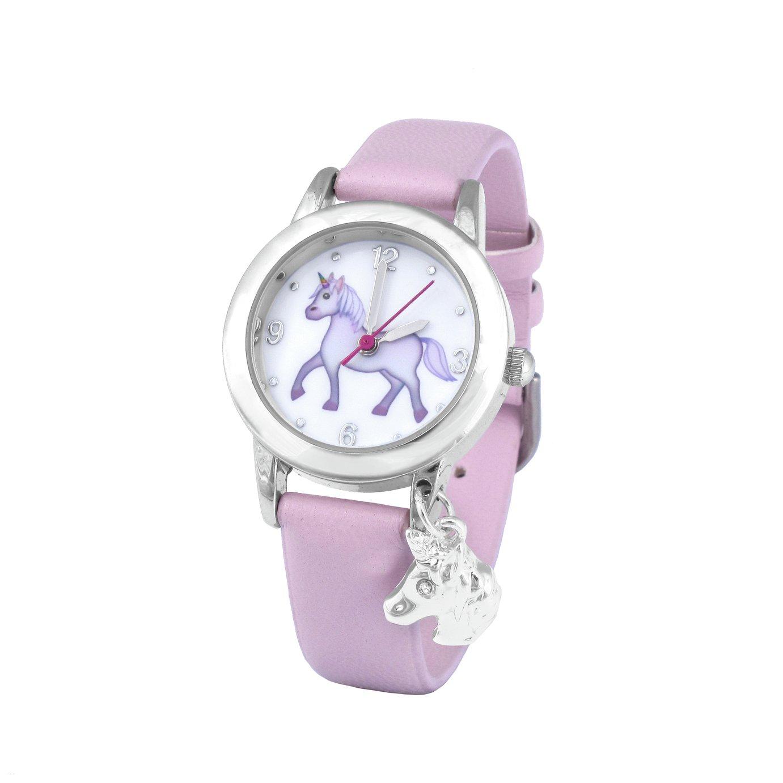 Emoji Unicorn Faux Leather Strap Watch