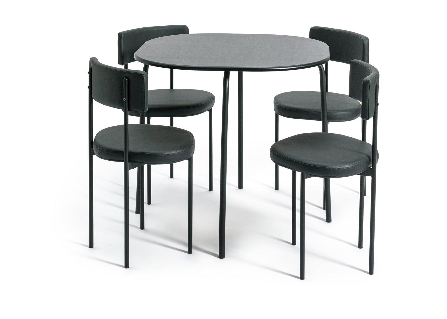 Habitat Jayla Wood Effect Dining Table & 4 Black Chairs