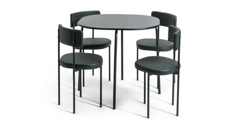 Habitat Jayla Wood Effect Dining Table & 4 Black Chairs