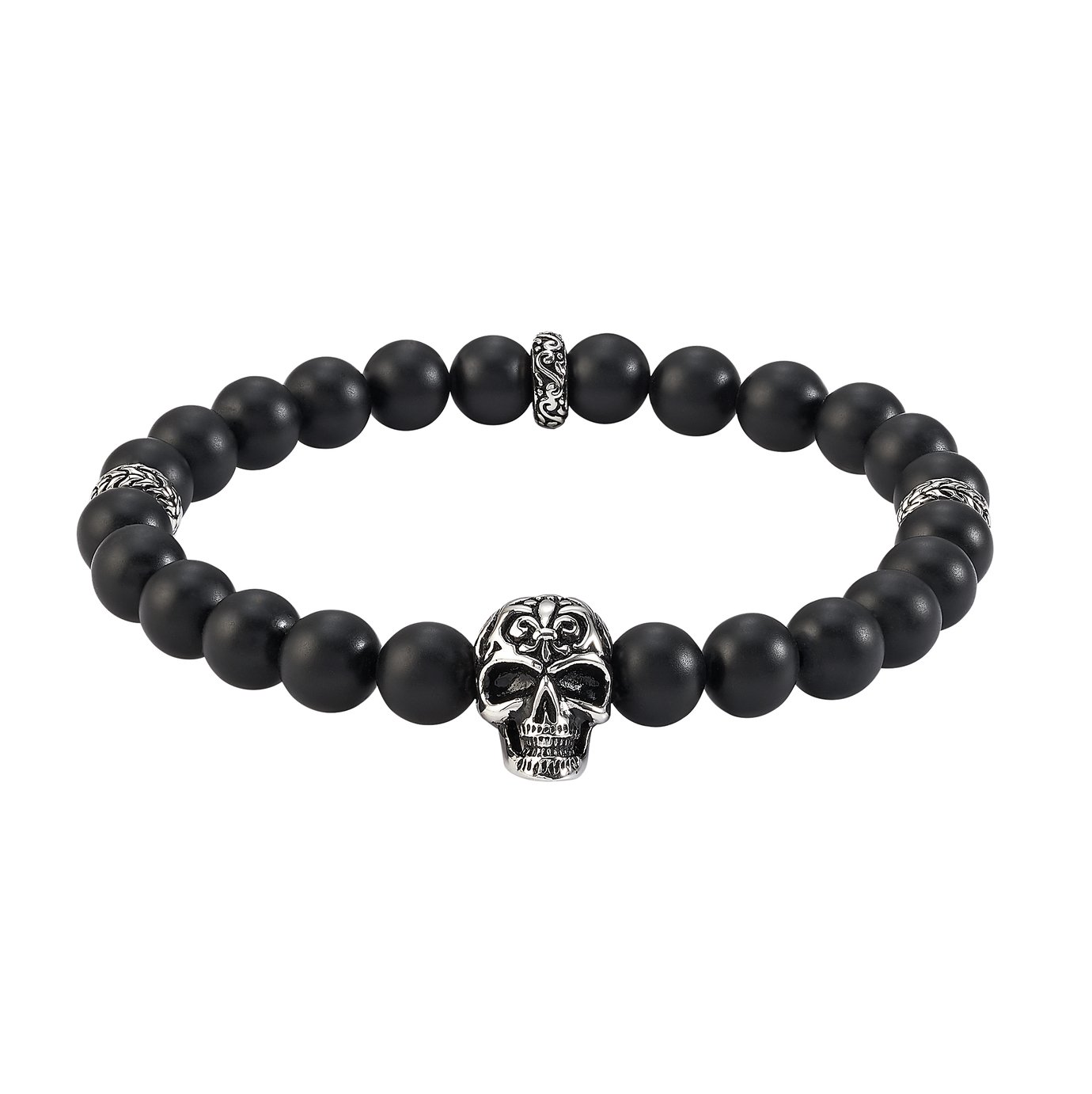Revere Stainless Steel with Skull Bead Bracelet