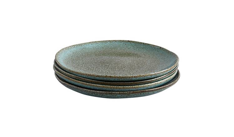 Habitat Olmo Speckled Set Of 4 Dinner Plates - Turquoise