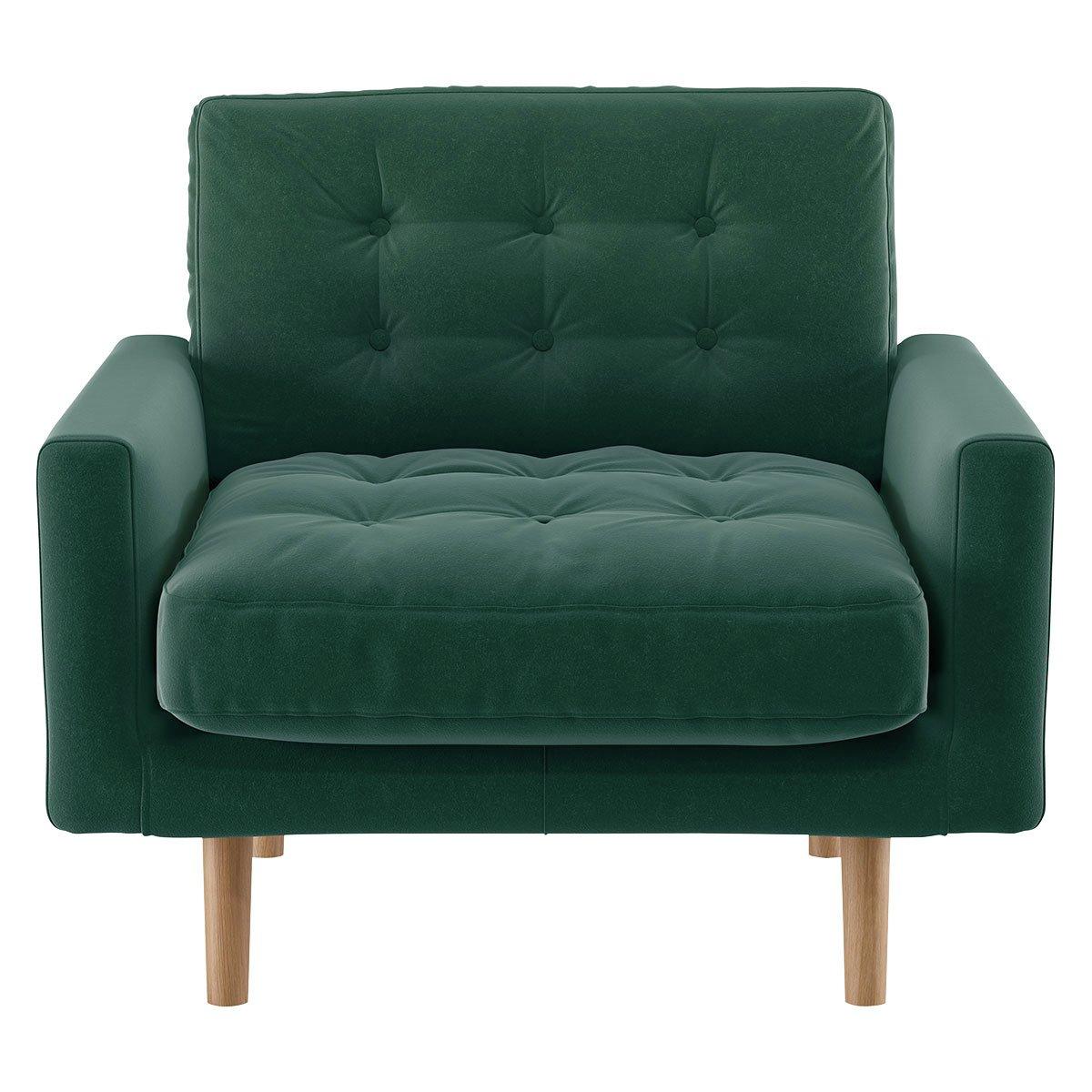 Habitat Fenner Emerald Green Velvet Armchair
