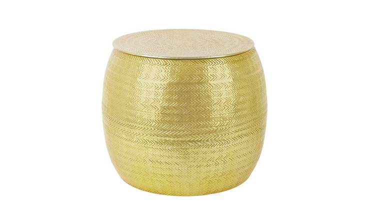Habitat Sona Gold Storage Hammered Aluminium Side Table