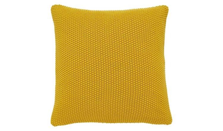 Habitat Paloma 45 x 45cm Knitted Cotton Cushion - Saffron