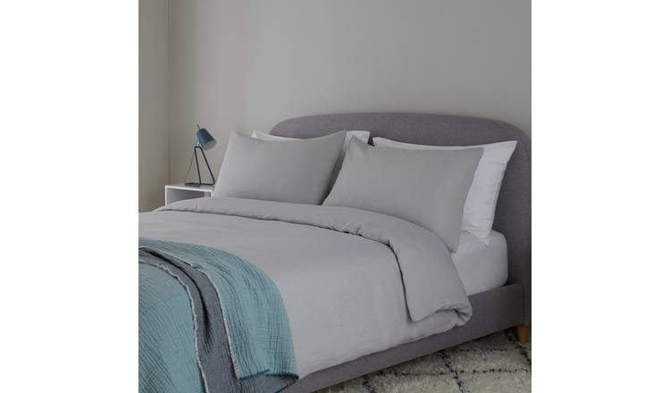 Habitat Linen Light Grey Bedding Set - Double