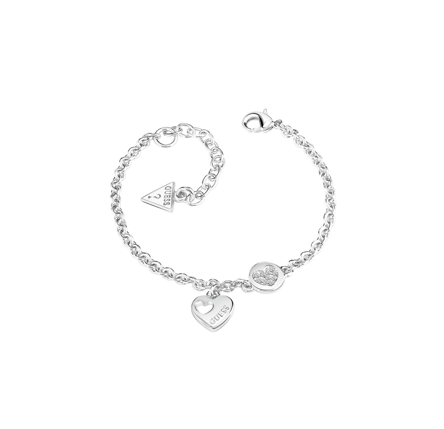 Guess Crystal Heart Devotion Silver Coloured Bracelet