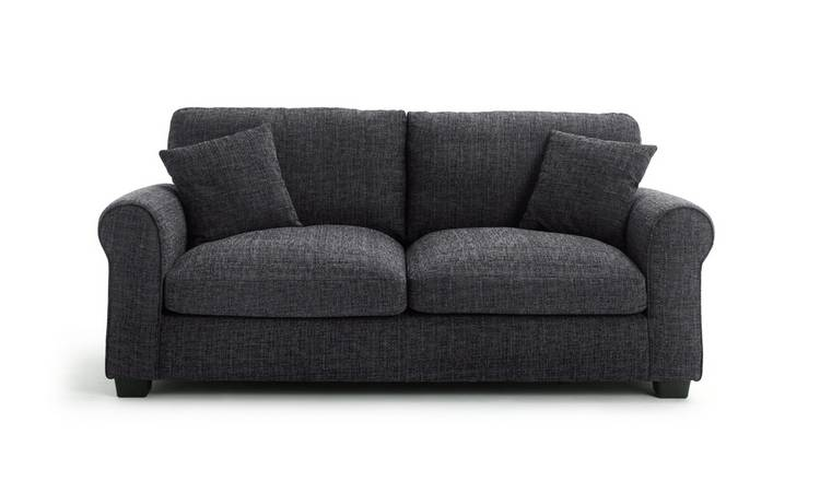 Habitat Lisbon 3 Seater Fabric Sofa - Charcoal
