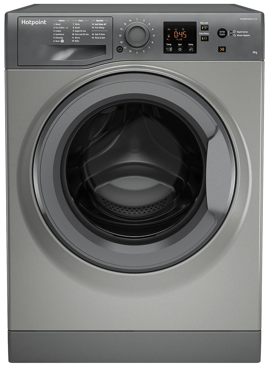 Hotpoint NSWM943CGG 9KG 1400 Spin Washing Machine - Graphite