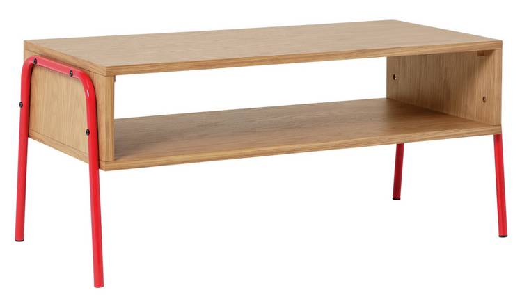Habitat Kirby TV Stand - Oak with Red Metal Legs