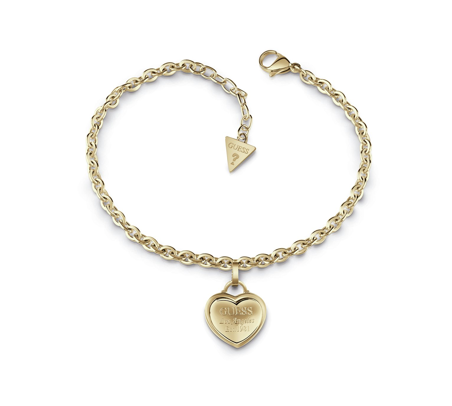 Guess Gold Plated Logo Heart Charm Bracelet