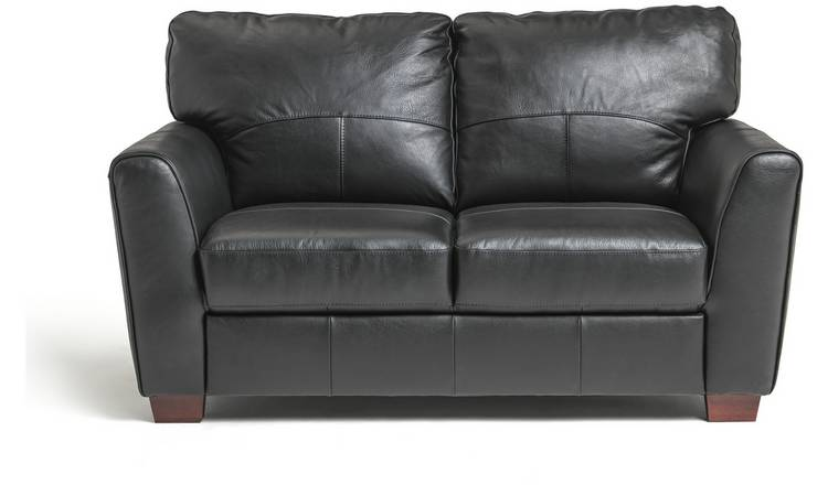 Habitat Milford 2 Seater Leather Sofa - Black