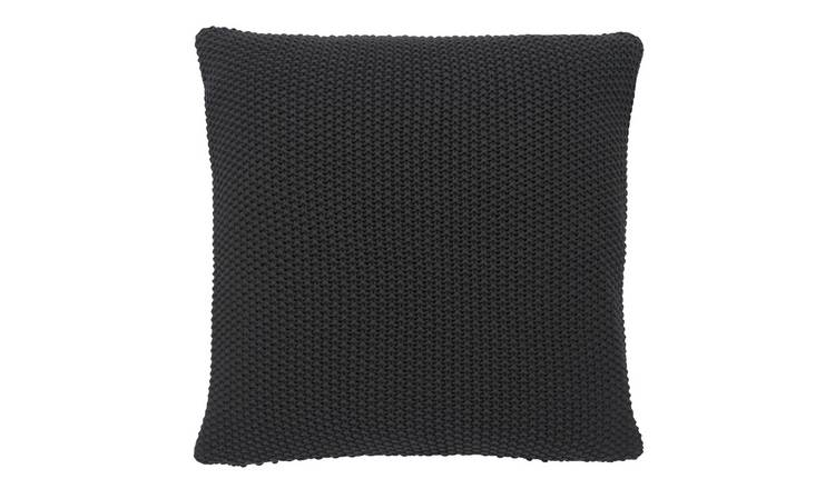 Habitat Paloma Knitted Cotton Cushion - Charcoal