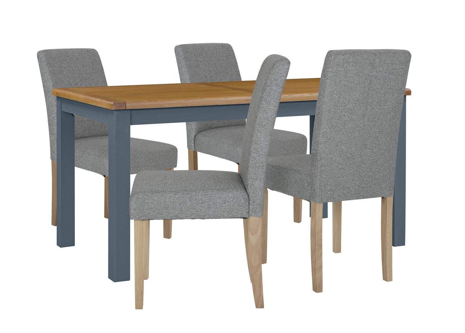 Argos Home Kent Wood Veneer Dining Table & 4 Grey Chairs