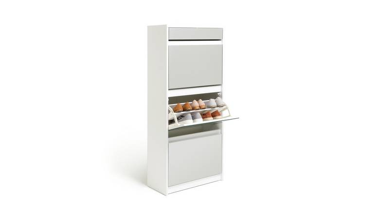 Habitat Jenson 4 Drawer Mirror Shoe Cabinet - White