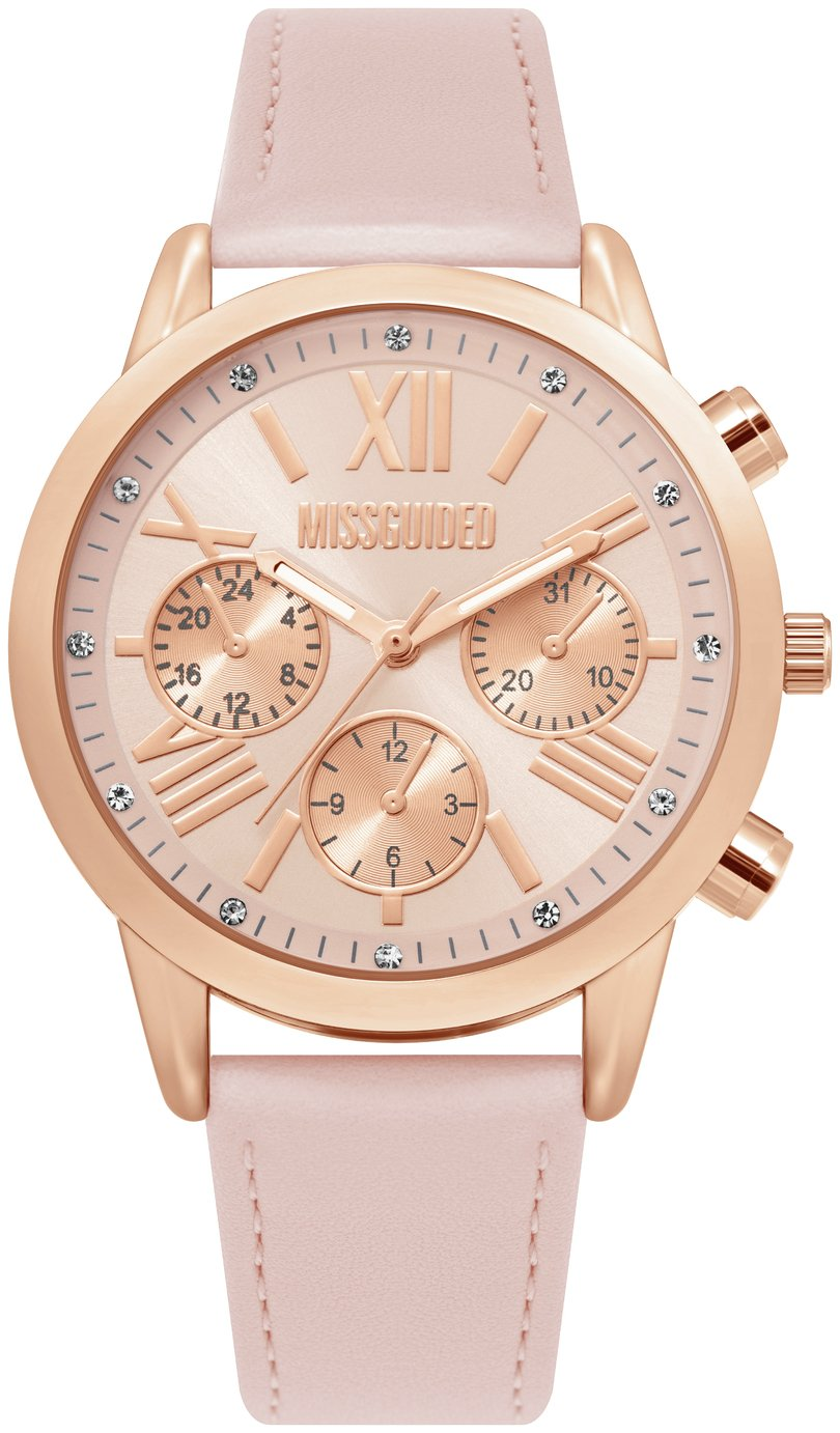 Missguided Pink Faux Leather Strap Watch