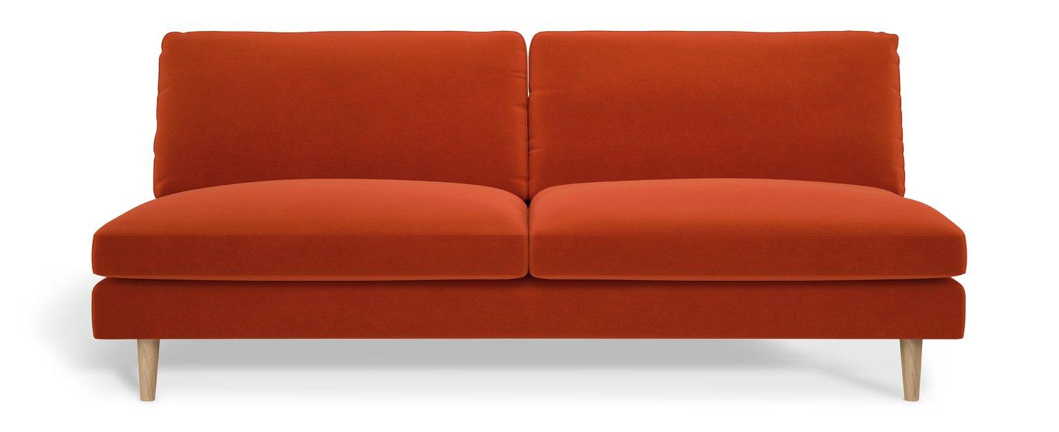 Habitat Teo 3 Seater Velvet Sofa - Orange