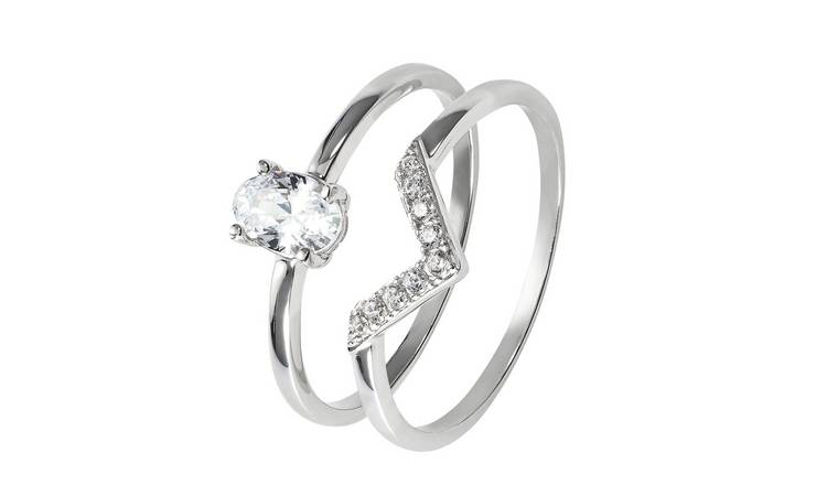Revere 9ct White Gold Cubic Zirconia Oval Bridal Ring Set- M