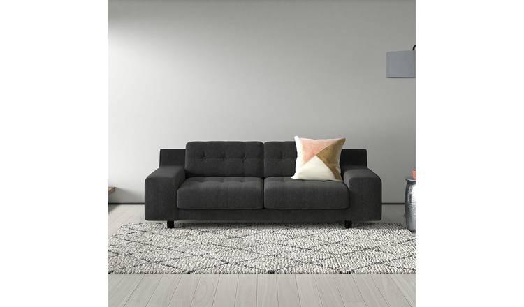 Buy Habitat Hendricks 3 Seater Velvet Sofa Ink Blue Sofas Habitat