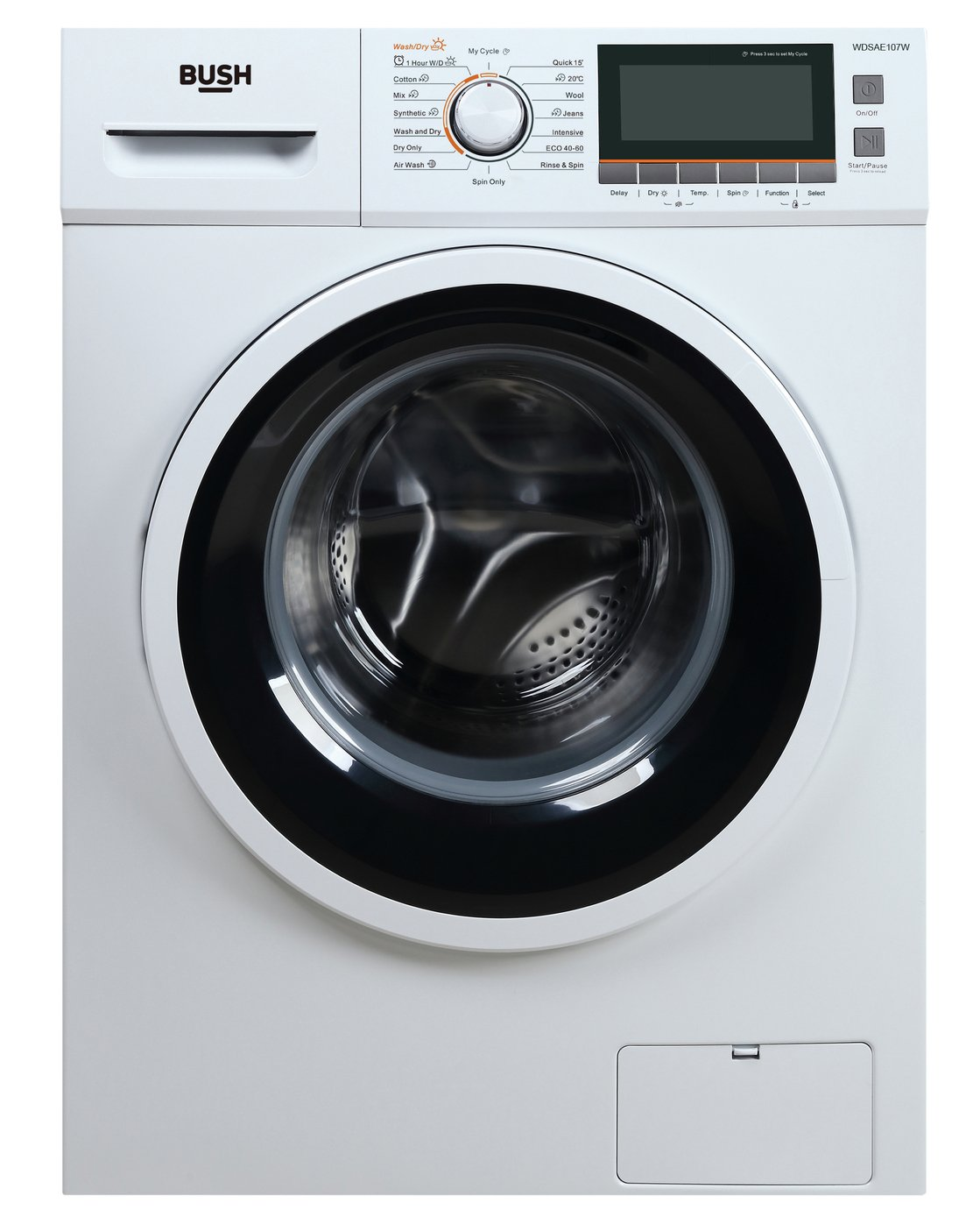Bush WDSAE107W 9KG/10KG 1500 Spin Washer Dryer - White
