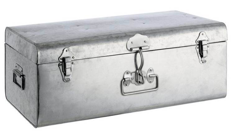 Habitat Trunk Large Galvanised Trunk - Silver