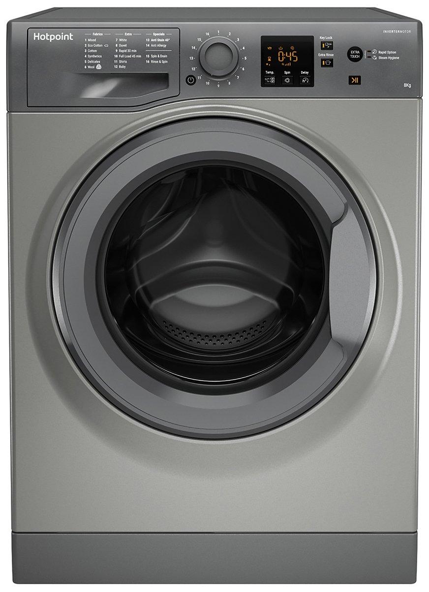 Hotpoint NSWM843CGG 8KG 1400 Spin Washing Machine - Graphite
