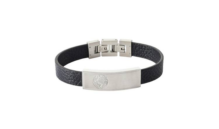 Revere Men's 'You Mean World To Me' Beaded Leather Bracelet