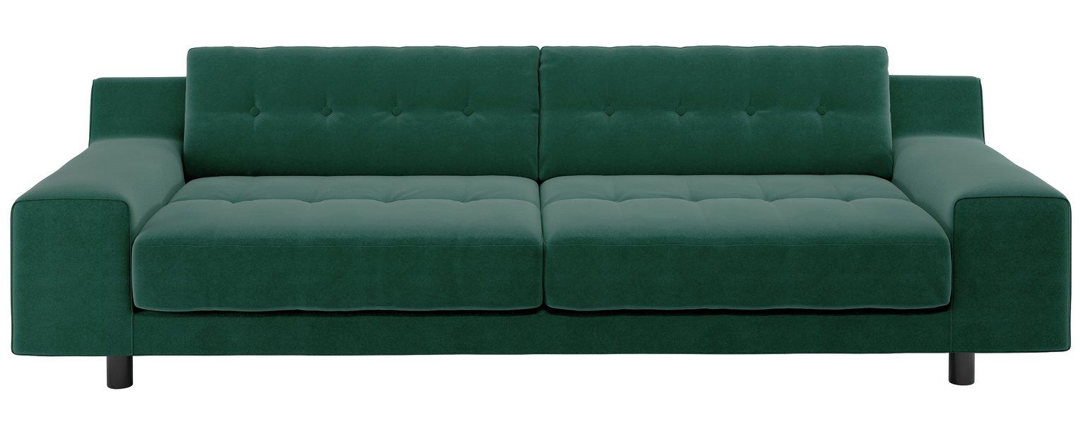 Habitat Hendricks 4 Seater Velvet Sofa - Emerald Green