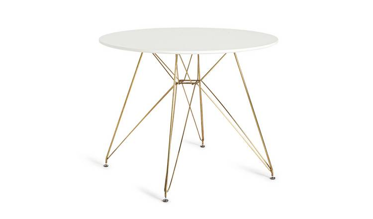 Habitat Maddix Round 4 Seater Dining Table - Brass & White