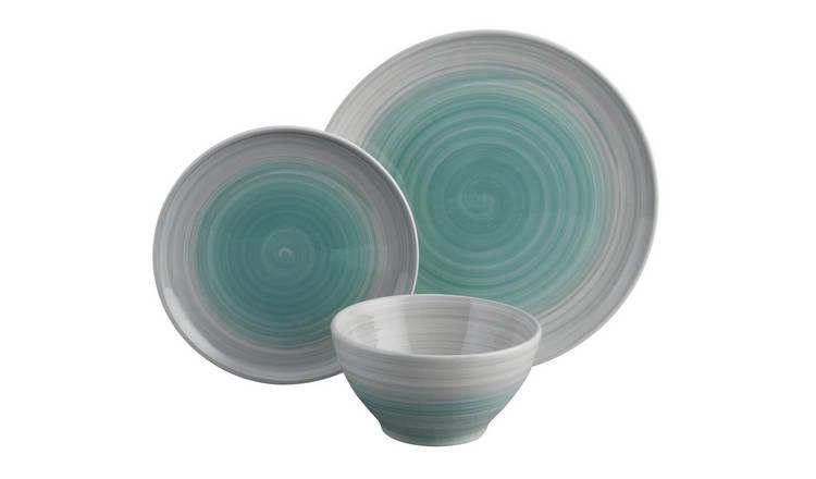 Habitat Atkinson 12 Piece Earthenware Dinner Set - Blue