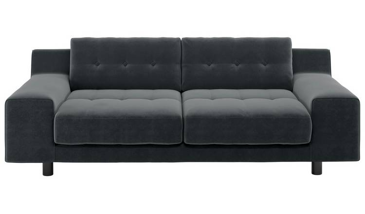 Habitat Hendricks 3 Seater Velvet Sofa - Dark Grey