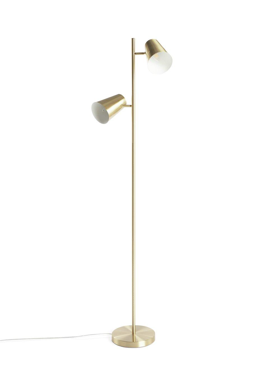 Habitat Iras Brass 2 Light Floor Lamp - Gold