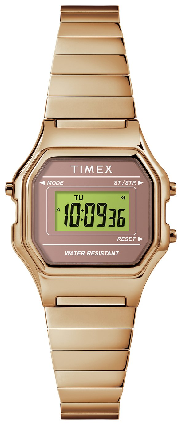 Timex Rose Gold Coloured Resin Bracelet Watch