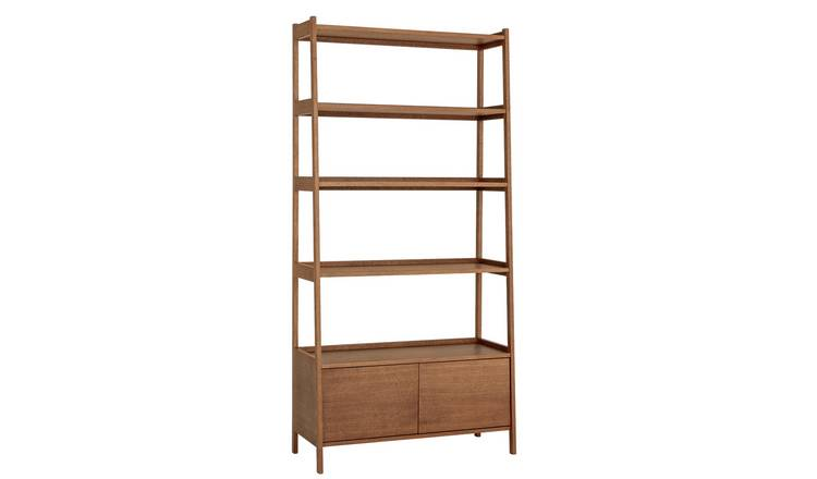 Habitat Marston Walnut Stain Bookcase with 2 Door Cabinet