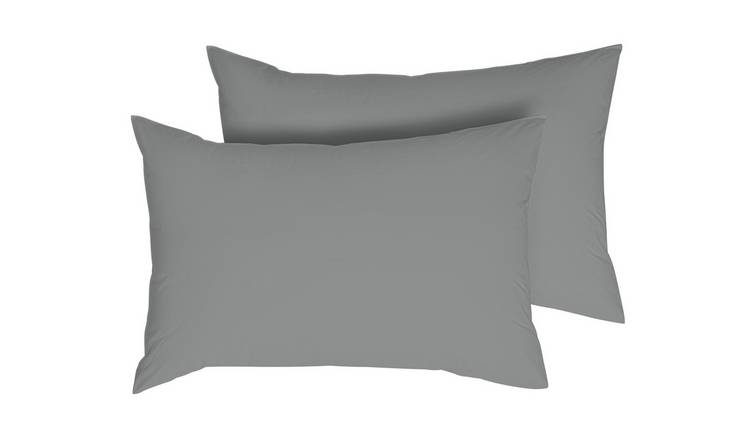 Argos Home Cotton Tencel Standard Pillowcase Pair -Dove Grey